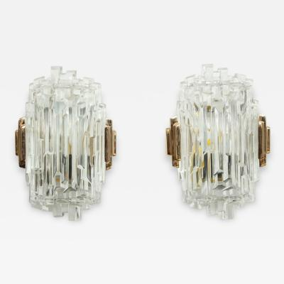 Glash tte Limburg Elegant Pair of Faceted Glass Sconces by Limburg