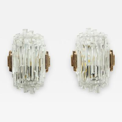 Glash tte Limburg Elegant pair of Faceted Sconces by Limburg