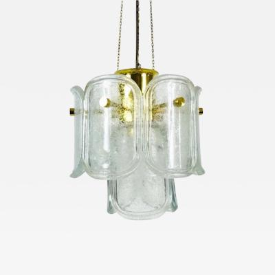 Glash tte Limburg Large Mid Century Two Tier Brass and Ice Glass Chandelier from Limburg 1960s