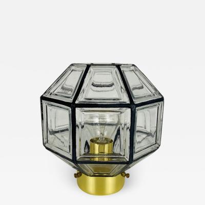 Glash tte Limburg MIDCENTURY IRON AND BUBBLE GLASS FLUSH MOUNT BY GLASH TTE LIMBURG 1960S