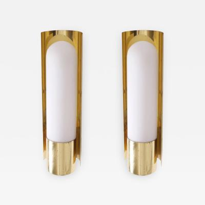 Glash tte Limburg One of Three Brass and Glass Wall Lights Lamps or Sconces by Glash tte Limburg