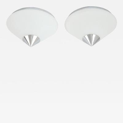 Glash tte Limburg Pair of Chrome Capped Flush mounts Sconces by Limburg