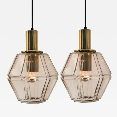 Glash tte Limburg Pair of Geometric Brass and Clear Glass Pendant Lights by Limburg 1970s