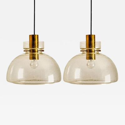 Glash tte Limburg Pair of Herbert Proft Limburg Glash tte Pendant Lights P210 4207 1960
