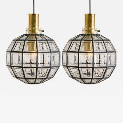 Glash tte Limburg Pair of Large Iron and Clear Glass Light Fixtures by Limburg circa 1965