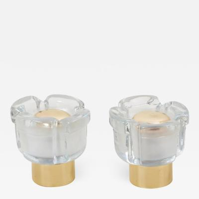 Glash tte Limburg Pair of Table Lamps in Glass and Brass by Glash tte Limburg Germany