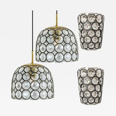 Glash tte Limburg Set of Four Circle Iron and Bubble Glass Sconces Light Fixtures Glash tte 1960
