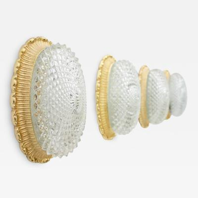 Glash tte Limburg Set of Four Oval Wall Sconces with Textured Glass and Gilded Metal by Limburg