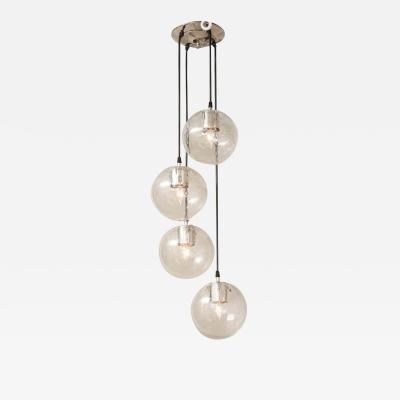 Glash tte Limburg Vintage Limburg Chandelier with 4 Cascading Clear Globe Pendants