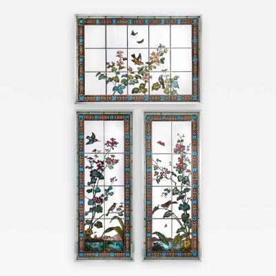 Glasmalerei Geyling Set of three stained glass windows by Austrian firm Glasmalerei Geyling