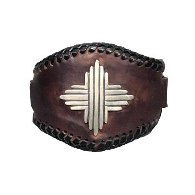 Glenn Green Galleries Silver Sun leather cuff bracelet