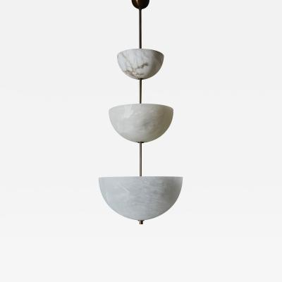 Glustin Luminaires Alabaster Half Spheres Vertical Suspension by Glustin Luminaires