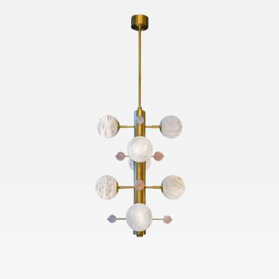 Glustin Luminaires Brass Suspension with Alabaster Globes and Quartz by Glustin Luminaires Creation