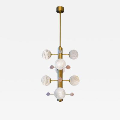 Glustin Luminaires Brass Suspension with Alabaster Globes and Quartz by Glustin Luminaires Creation
