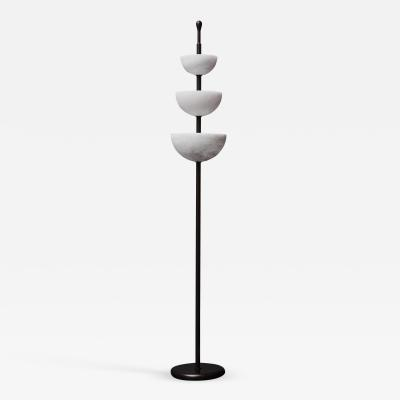 Glustin Luminaires Brass and Alabaster Cups Floor Lamp by Glustin Luminaires