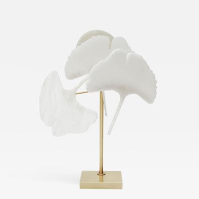 Glustin Luminaires Brass and Alabaster Gingko Table Lamps by Glustin Luminaires