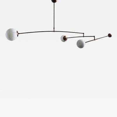 Glustin Luminaires Brass and Alabaster Three Globes Mobile Chandelier by Glustin Luminaires