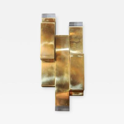Glustin Luminaires Brass and Plexiglass Wall Sconces by Glustin Luminaires