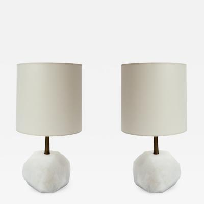 Glustin Luminaires Glustin Luminaires Alabaster Monolith Faceted Table Lamps