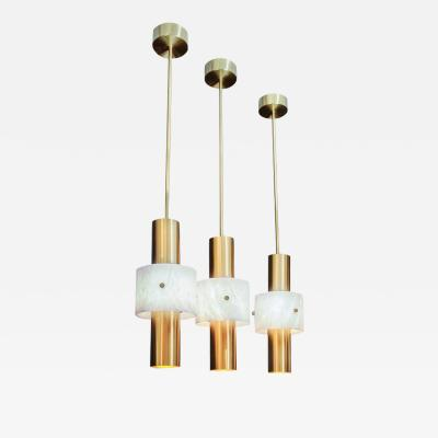 Glustin Luminaires Glustin Luminaires Brass and Alabaster Rings Pendant