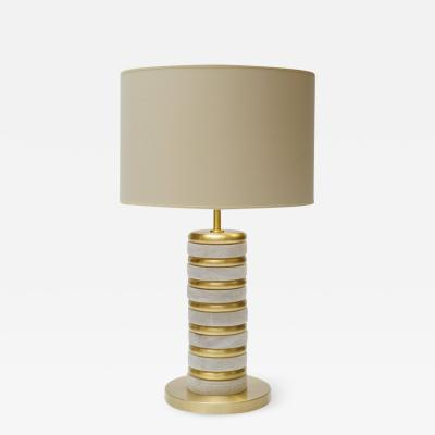 Glustin Luminaires Glustin Luminaires Creation Alabaster and Brass Rings Table Lamp