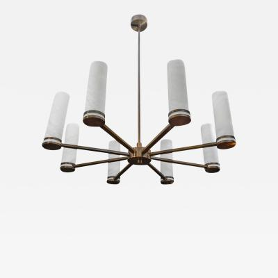 Glustin Luminaires Glustin Luminaires Creation Brass Chandelier with Alabaster Sconces
