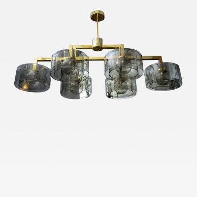 Glustin Luminaires Glustin Luminaires Creation Brass Chandelier with Grey Glass Cylinder