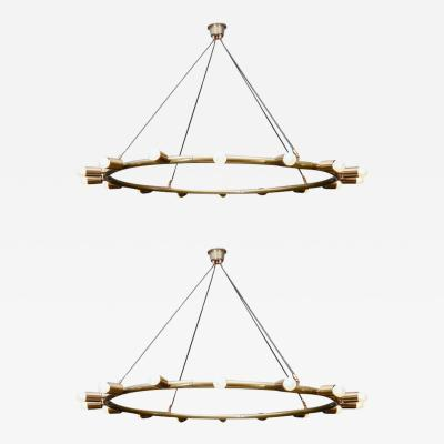 Glustin Luminaires Glustin Luminaires Creation Brass Hoop Chandeliers