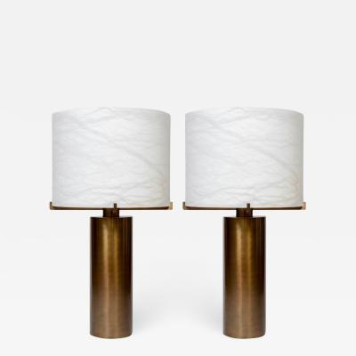 Glustin Luminaires Glustin Luminaires Creation Brass and Alabaster Shades Table Lamp