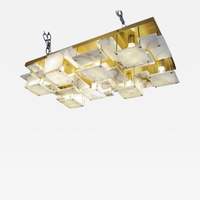 Glustin Luminaires Glustin Luminaires Creation Brass and Alabaster Tiles Ceiling Lamp