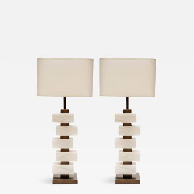 Glustin Luminaires Glustin Luminaires Creation Pair of Brass and Alabaster Bricks Table Lamps
