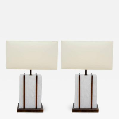 Glustin Luminaires Glustin Luminaires Creation Pair of Brass and Alabaster Cage Table Lamps