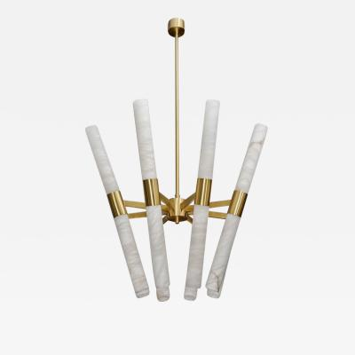 Glustin Luminaires Glustin Luminaires Creation Satin Brass and Tilted Alabaster Rods Chandelier
