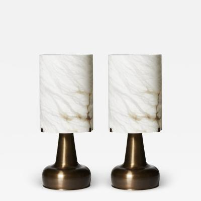 Glustin Luminaires Glustin Luminaires Pear Shaped Brass Table Lamps and Alabaster Shades