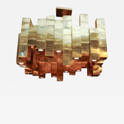 Glustin Luminaires Large Square Brass Chandelier by Glustin Luminaires