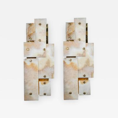 Glustin Luminaires Pair of Glustin Luminaires Creation Brass and Marble Wall Sconces