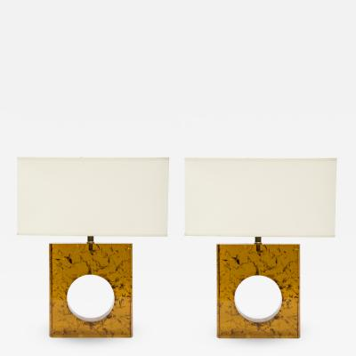 Glustin Luminaires Pair of Orange Fractal Resin Square Table Lamps