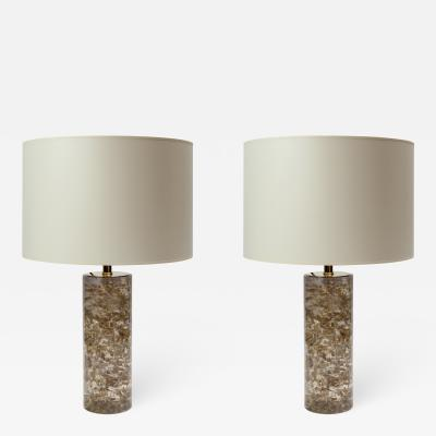 Glustin Luminaires Pair of Transparent Fractal Resin and Gold Leaves Table Lamps