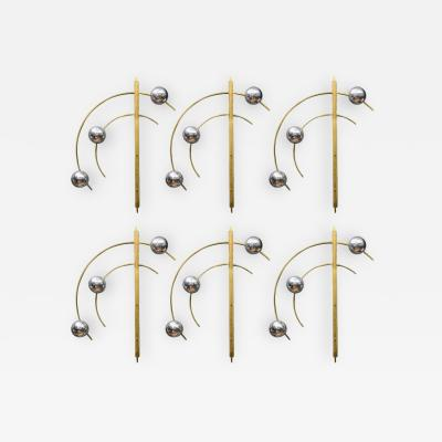 Glustin Luminaires Set of Six Original Brass and Murano Glass Globes Brass Wall Sconces