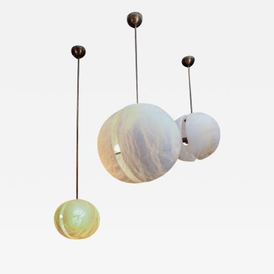 Glustin Luminaires Set of Three Brass and Alabaster Half Spheres Suspensions by Glustin Luminaires