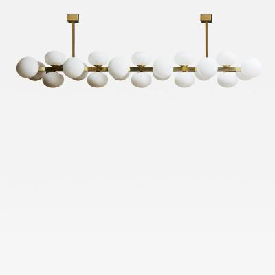 Glustin Luminaires Wide Brass Chandelier with Globes