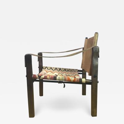 Gold Medal American Mid Century Modern Safari Chair 1940s Turkish Kilim Seating