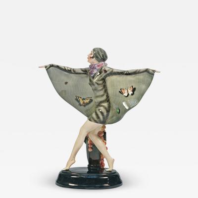 Goldscheider of Vienna Goldscheider The Captured Bird ceramic statuette by Josef Lorenzl