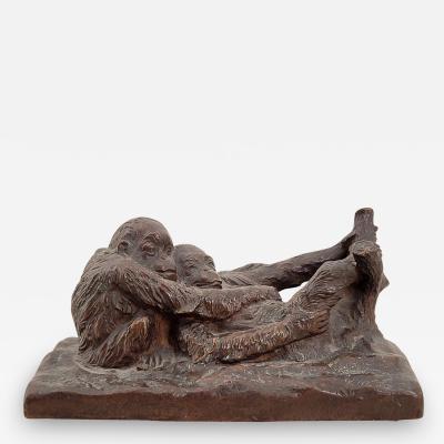Gorham Manufacturing Co Circa 1900 Rare Gorham Sculpture of Relaxing Monkeys