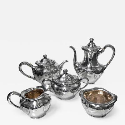 Gorham Manufacturing Co Gorham Sterling Art Nouveau Arts and Crafts hammered Tea and Coffee Set 1897