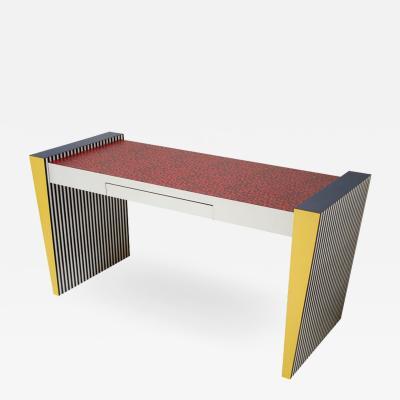 Grace Designs Ettore Sottsass Memphis Desk in Spugnatto Red Laminate from Grace Designs 1985