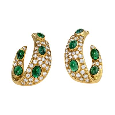 Graff Gold Diamond and Emerald Earrings by Graff