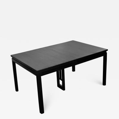 Grand Rapids Bookcase Chair Co Asian parson style black extension dining table with two aproned leaves