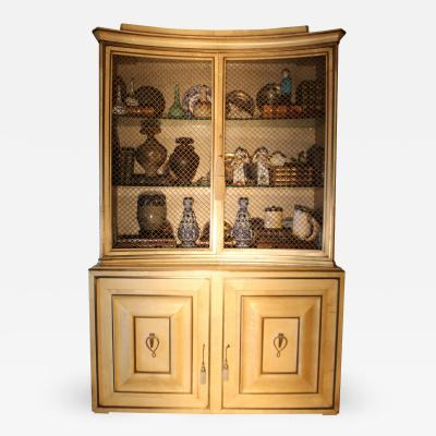 Grosfeld House 1940s Vintage Grosfeld House Lacquered Parchment China Cabinet