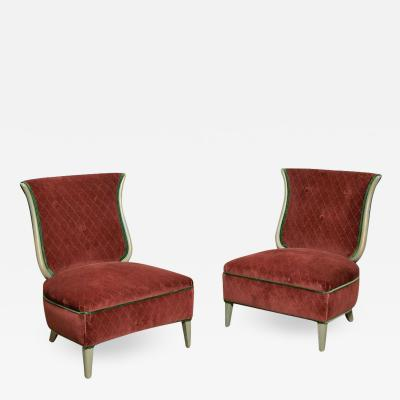 Grosfeld House Art Deco Grosfeld House Hollywood Regency Red Velvet Slipper Chairs